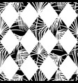 Harlequin rhombs and palm leaves seamless vector image