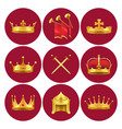 medieval kings attributes in scarlet circles set vector image