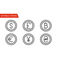 money sign icons set thin line vector image