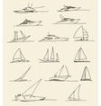 Set of hand drawn boats vector image