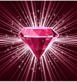 Red diamond on bright background vector image vector image