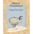 Cardboard Christmas card with sheep vector image