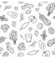 Hand drawn outline vegetables seamless pattern in vector image