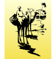 Bedouins on camels in the desert vector image vector image