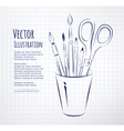 Brushes pen pencils and scissors in holder vector image