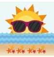 funny sun with sunglasses stars beach vector image