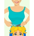 girl getting haircut at hairdressing salon vector image