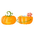 jack-o-lantern and pumpkin bucket full of candy vector image