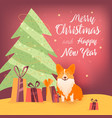 new year banner with christmas tree dog and gifts vector image