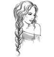 Sketch of a beautiful girl with braid vector image