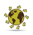 map earth environment ecological green footprints vector image