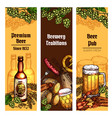 beer with snacks banner for pub brewery design vector image vector image