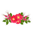 set red flowers of rose with leaves in realistic vector image