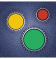 Denim texture with multicolored round holes vector image