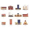 City buildings vintage icons set vector image