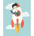 Asian young guy inside the rocket vector image