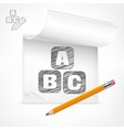 Pencil and letters in notepad vector image