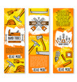 construction handy work tools banners vector image