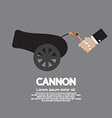 Hand With Match Fire Cannon vector image