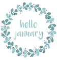 Hello january winter watercolor wreath card vector image