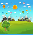 mountain landscape on pop up paper cut style vector image