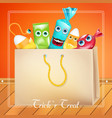 trick or treat halloween bag with candies monsters vector image