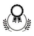 Medal award in monochrome with olive branch vector image