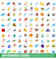 100 istambul icons set isometric 3d style vector image