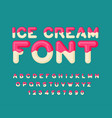 Ice cream font popsicle alphabet cold sweets abc vector image