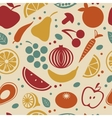 Retro style fruit and vegetables pattern vector image