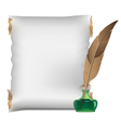 Scroll feather and inkwell vector image