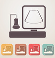 Ultrasound machine flat icon set in color boxes vector image
