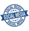 social media grunge retro blue isolated ribbon vector image