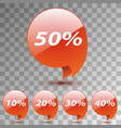 set discount sticker sale red tag isolated vector image
