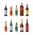 set of different bottles flat isolated wine beer vector image