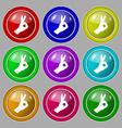 Gesture ok icon sign symbol on nine round vector image