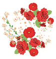 red roses and poppies ornament vector image