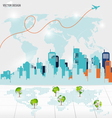 Tree shaped world map with building background vector image