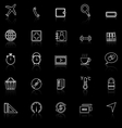 Application line icons with reflect on blackSet 2 vector image