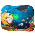 Children in submarine under the ocean vector image