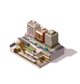 isometric subway station cross section vector image vector image