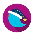 Bird in Christmas cap icon in flat style isolated vector image
