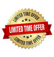 limited time offer 3d gold badge with red ribbon vector image