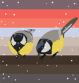 two titmouses under snow vector image vector image