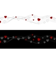 Abstract wavy headers with hearts vector image