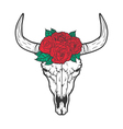 Bull skull with roses native Americans tribal vector image