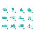 stylized transportation and travel icons vector image