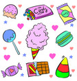 doodle of candy various colorful various vector image