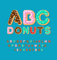 donuts abc pie alphabet baked in oil letters vector image