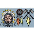 Brave American Indian warrior head for mascot and vector image